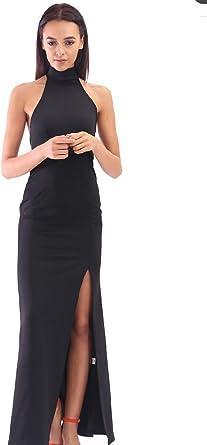 Nueva señoras de la mujer hendidura Maxi cuello alto vestido largo ...
