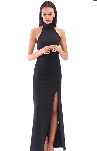 Vestido negro largo cuello alto