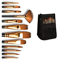 Professional Artist Paint Brushes set with Case, Nylon Hair Painting Brush Great for Acrylic, Face, Nail Art, Body Art…