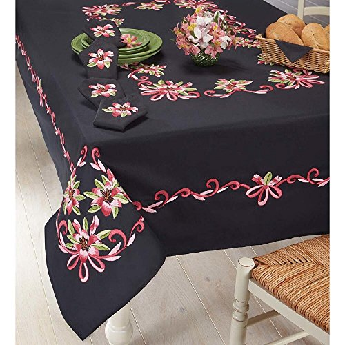 (Nob Hill Fuchsia Tiger Lilies Tablecloth Stamped Embroidery)