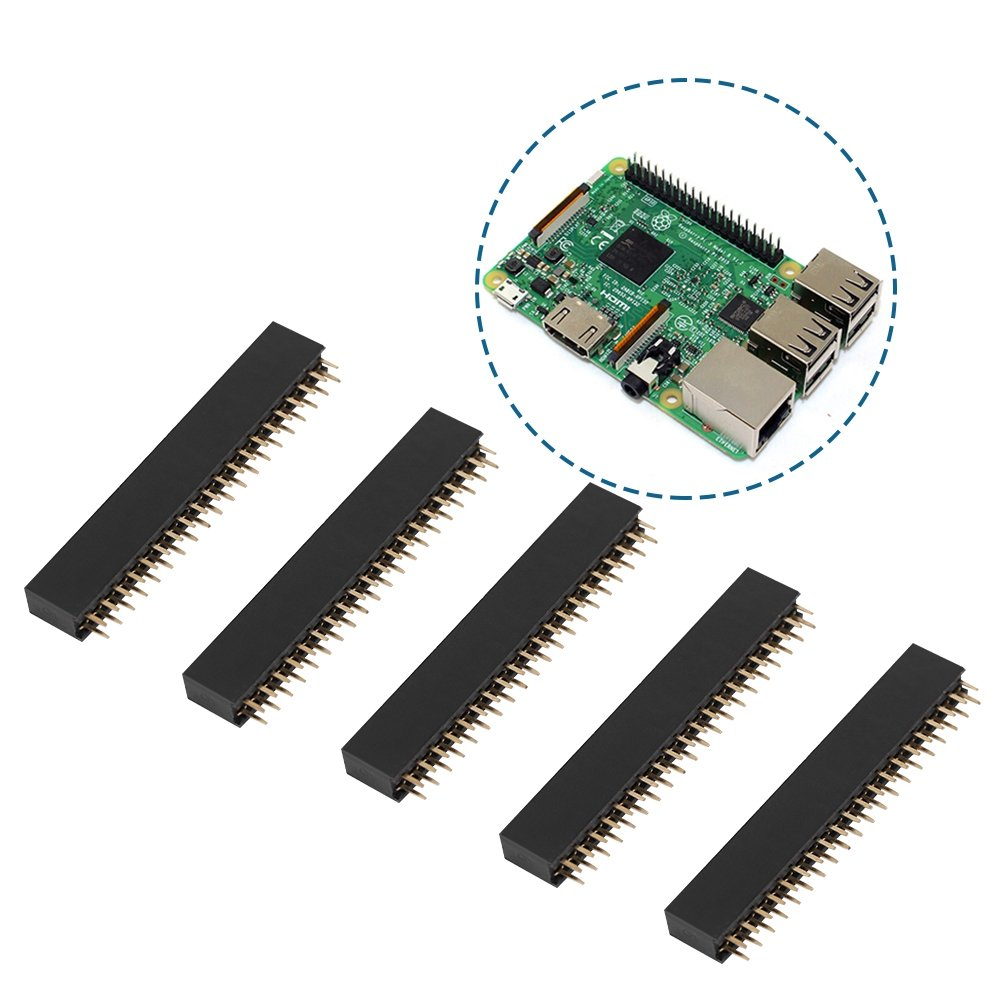 Used Widely in The Computer and Breadboard 2.54mm Pitch Female Dual Row Short Pin Headers Stable Electric Current and Signal Transmit Performance 2x20 Pins Bewinner 5pcs 40 Pins