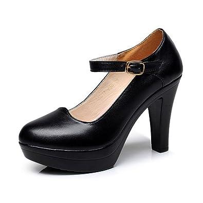 DKFJKI Damen High Heels Ultra High Heels Plateau Runde Schuhe Pumps Echtes Leder Einzelne Schuhe Professionelle...