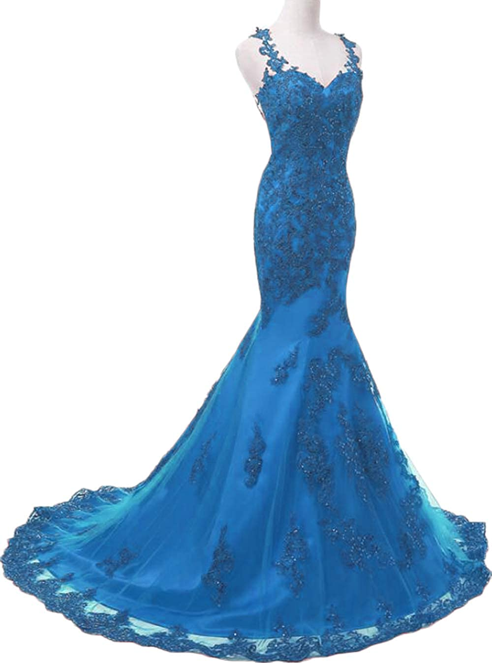 bluee Womens Illusions Lace Mermaid Prom Dresses Long 2019 Beaded Tulle Wedding Party Dresses Formal Evening Gowns