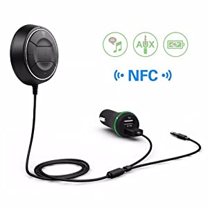 Car Charger,Hosamtel NFC Car Kit 3.5mm Bluetooth 4.0 Audio Receiver Hands-free Stereo Music Aux Speakerphone with 2.1A Dual USB Car Charger for iphone Smartphone MP3/4