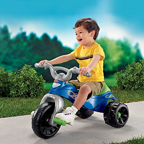61rTAZmXuOL - Fisher-Price Kawasaki Tough Trike, Blue/Green