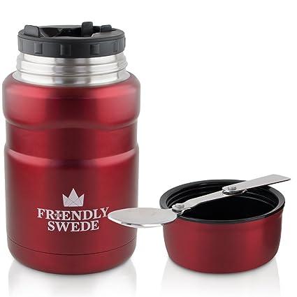 The Friendly Swede Termo de acero inoxidable para comida y bebidas, 500 ml, con