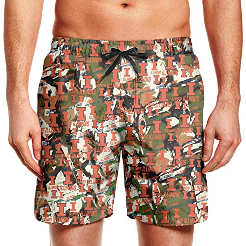 Nayouotyp Summer Illinois Fighting Illini Basketball Orange Mens Swim Shorts Elastic Reusable Sportwear Zipper Short