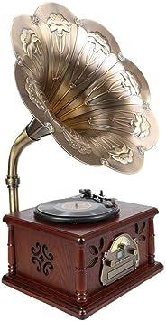 LVSSY-Tocadiscos de Vinilo Vintage Tocadiscos Bluetooth Madera ...