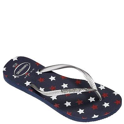 7981746bdc8828 Havaianas Women s Slim USA Glitter Flip-Flops Navy Blue 1 41-42 M ...