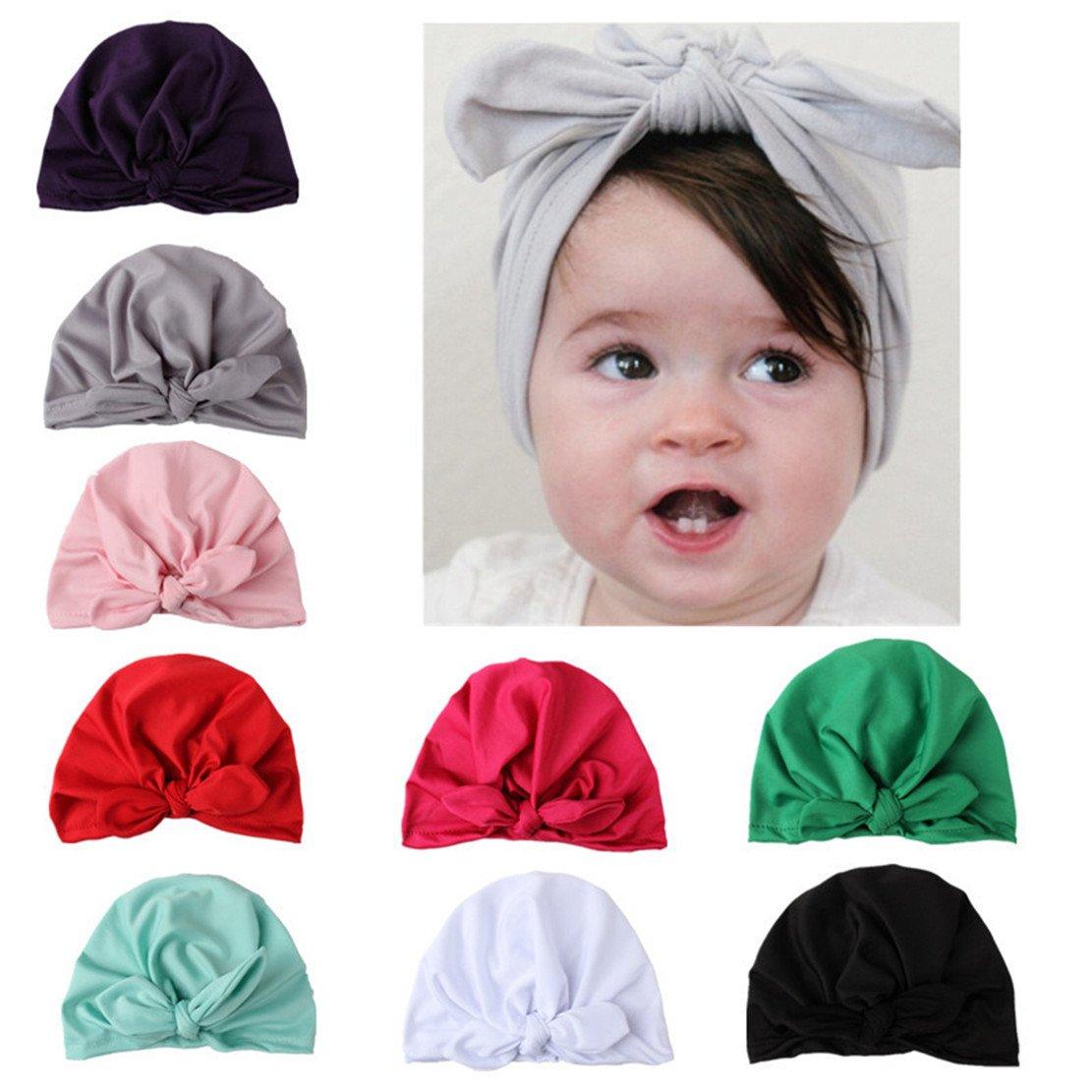 0b8db7fd7da CHSEEA Baby Gift Set - 9PCS Cute Baby Hat Set Elastic Turban Headbands Hair  Wraps Hairbands Hair Bow For Toddler Kids Photography Props