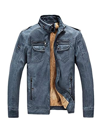 843c6e93a Vintage PU Leather Jacket Mens Winter Casual Motorcycle Faux Leather  Jackets Coat Blue Tag 4XL=US XL