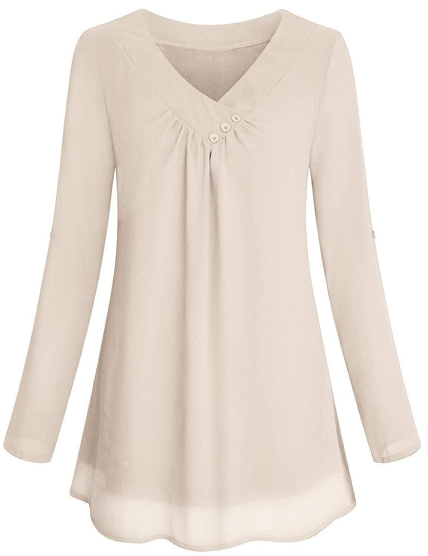 Yidarton Women Chiffon Blouses Roll-up Long Sleeve Top Casual V Neck  Layered Tunic Shirt at Amazon Women's Clothing store: