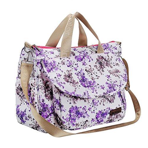 larsuyar 100% algodón 6piezas Baby–Juego de bolso bolsas de pañales para bebé, para las niñas, 42cm por 37cm por 14cm Grün lila