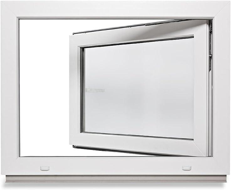 2-fach-Verglasung verschiedene Ma/ße Fenster DIN rechts LAGERWARE Kunststoff wei/ß BxH: 80x60 cm 60mm Profil Kellerfenster