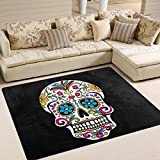 Naanle Floral Skull Area Rug 5'x7', Mexican Skull Day of the Dead Polyester Area Rug Mat for Living Dining Dorm Room Bedroom Home Decorative