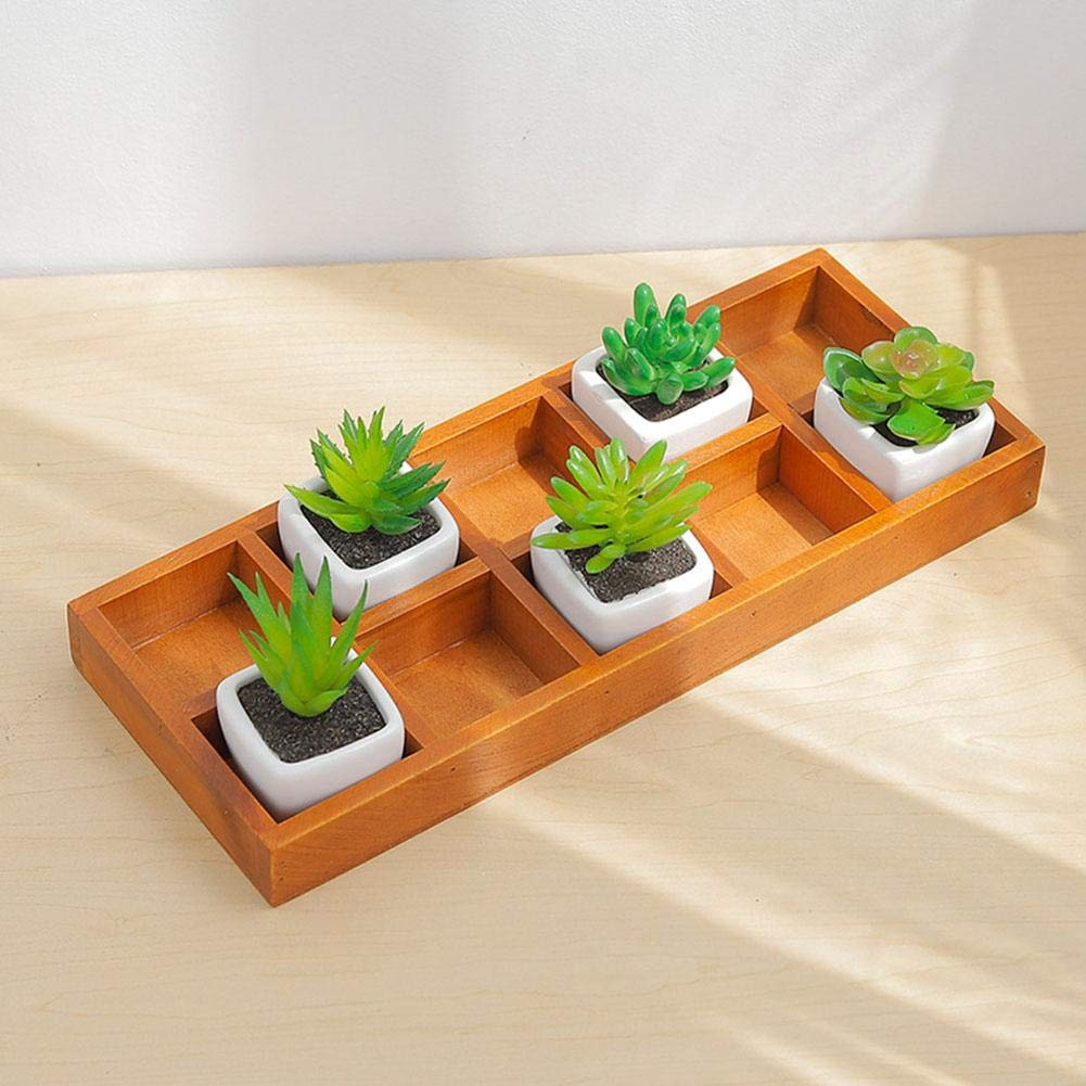 Wooden Succulents Pot Organizer Container Box,10 Grid Rectangular Durable Desktop Decoration Wooden Succulent Planter Container Nursery Plant Storage Box for Office, Home, Tea Table, Windowsill Mlec tech