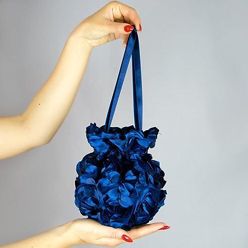 Bolso flores saten novia boda fiesta Handmade vestido comunion azul