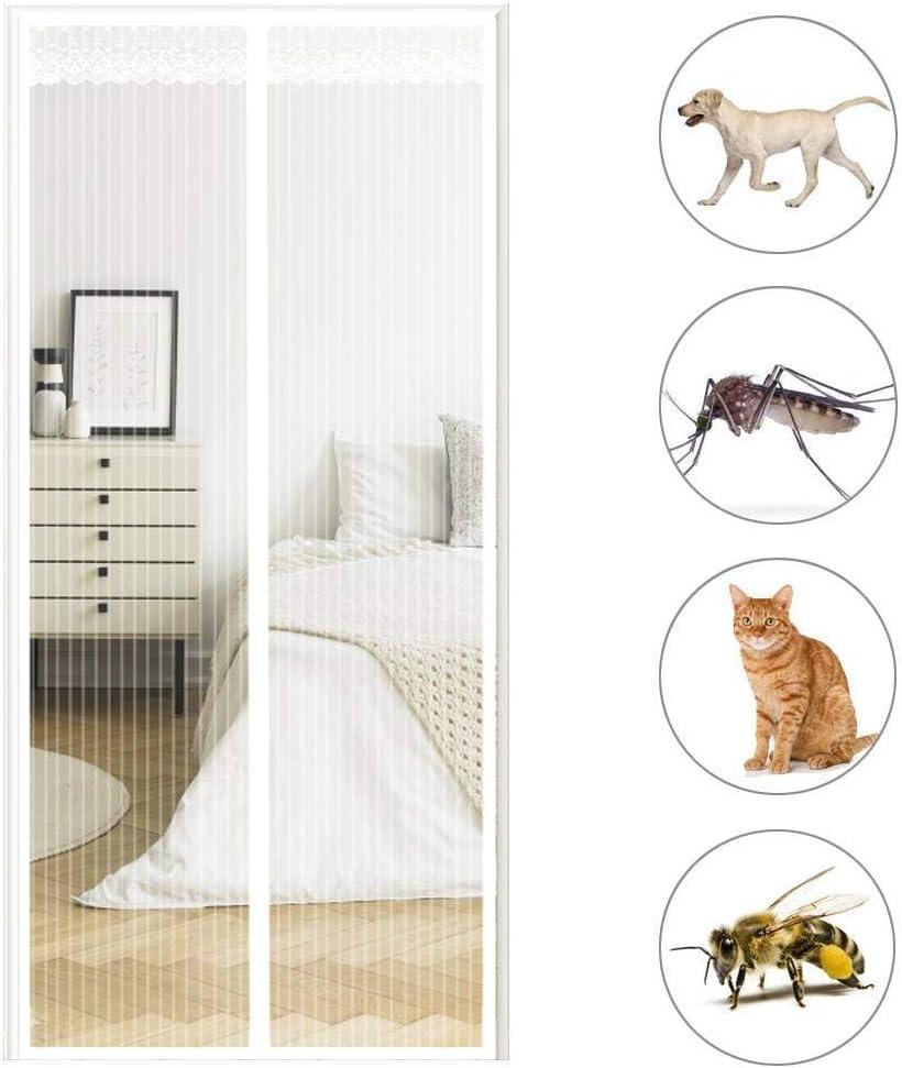 GOUDU Cortina Mosquitera Magnetica Mosquiteras a Medida con Durable Anti Insectos Moscas y Mosquitos para Terraza Blanco 105x260cm 41x102inch