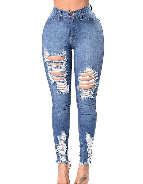 cb3940299 Pantalones De Mezclilla De Cintura Alta Para Mujer Pantalones De Sencillos  Mezclilla Desgastados De Moda Pantalones De Mezclilla Rasgados Desgastados  ...