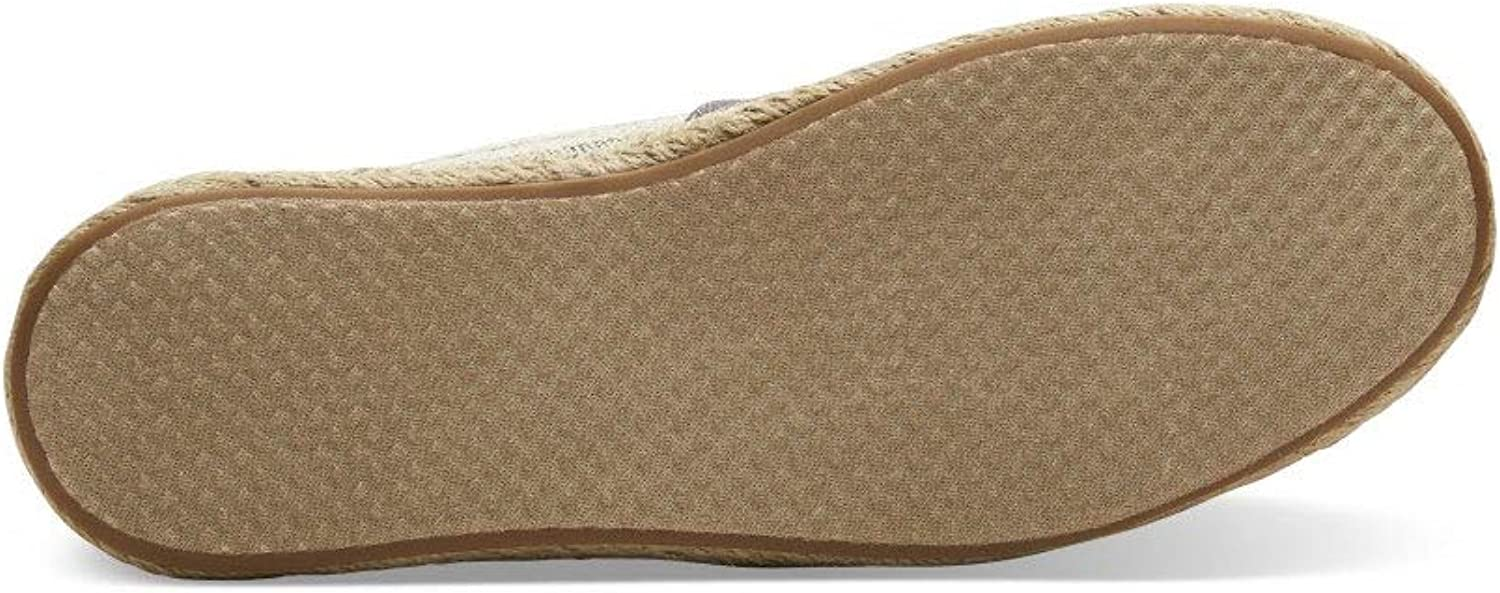 TOMS Women's Classic Canvas Slip-On Shoe Drizzle Grey Ivy League Stripes on Rope