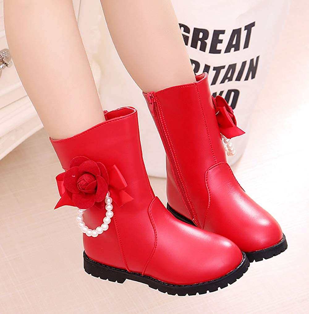 WUIWUIYU Girls Princess Side Zip Mid Calf Flower Pearls Fur Lined Snow Boots Performance Party Shoes Red Size 8