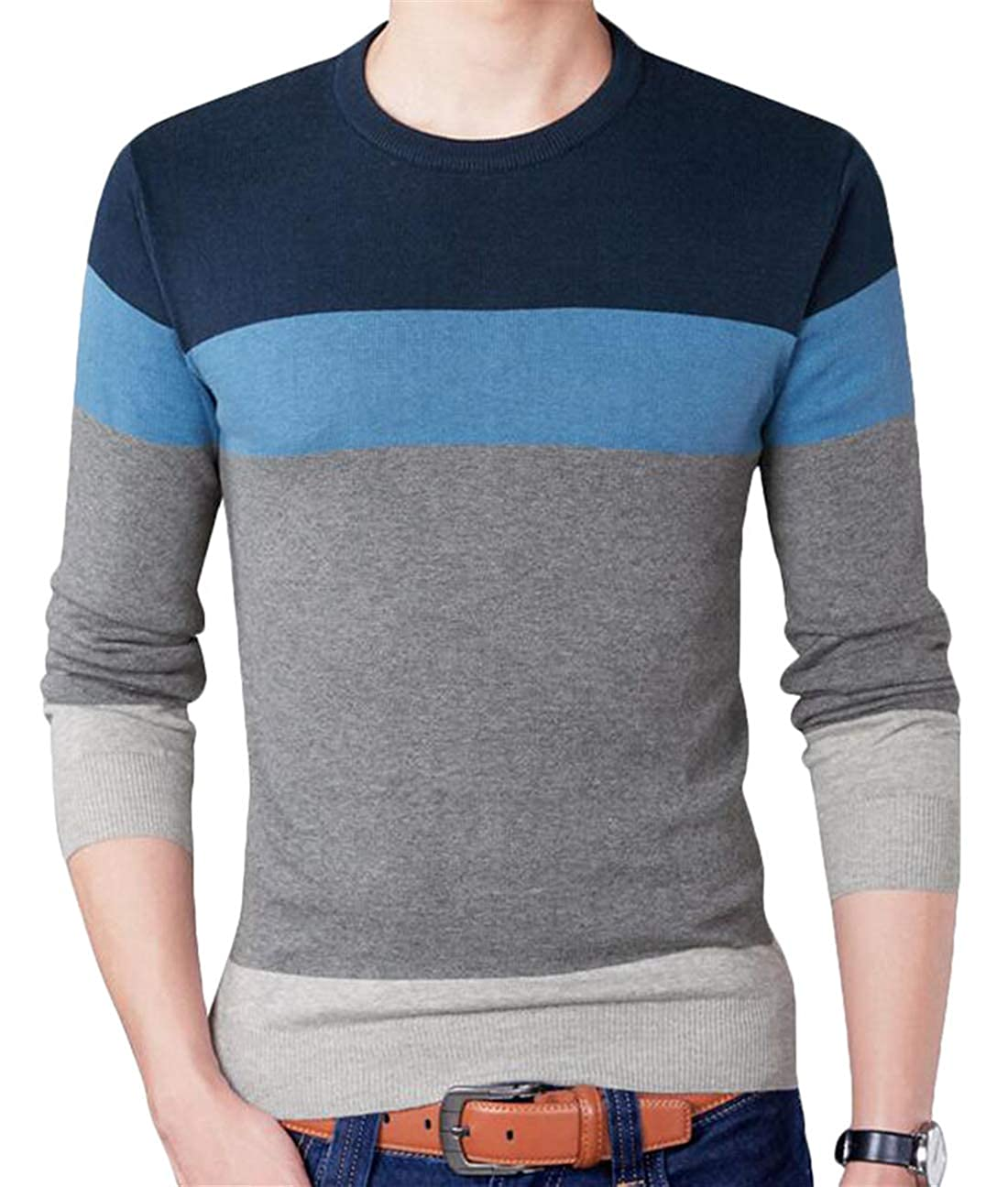 YYear Mens Knitted Color Block Casual Round Neck Slim Cotton Pullover Sweater