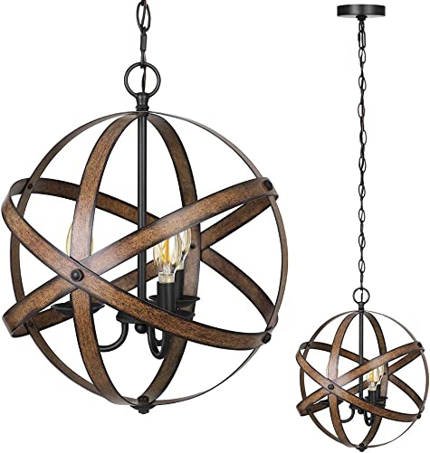 DEWENWILS 3-Light Farmhouse Chandeliers Industrial Pendant Lighting Metal Ceiling Light Fixture Hanging Light for Dining Room Kitchen Island Living Room Bedroom Foyer, ETL Listed
