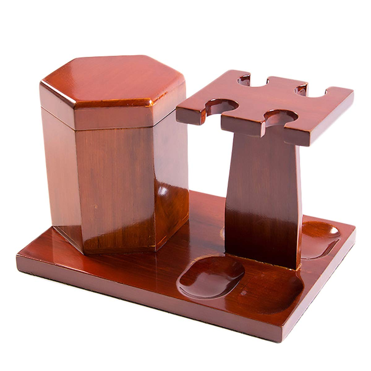 LUCKFY Tobacco Pipe Rack - 4 Pipes - with Tobacco Storage Tank,Wooden,Smooth,Hand Made by LUCKFY