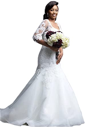 Womens Plus Size Bridal Ball Gown Vintage Lace Wedding Dresses for Bride with 3//4 Sleeves