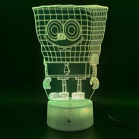 sanzangtang Luz de Noche LED 3D-Vision-Seven Colors-Remote Control ...