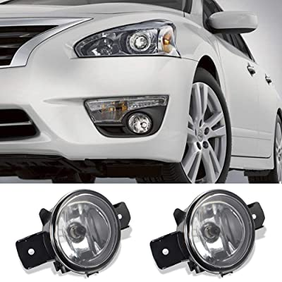 GTP Pair Fog Lights Clear Glass Lens Replacement For Nissan Sentra Maxima Altima Rogue Infiniti M35 M45 G37 JX35 QX60 w/ H11 Halogen Lamp Bulbs: Automotive