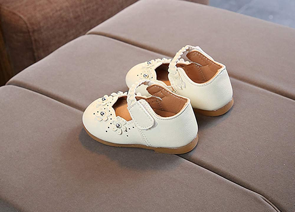 Buoyee Toddler Baby Girls Child Flower Leather Single Shoes Soft Sole Princess Shoes