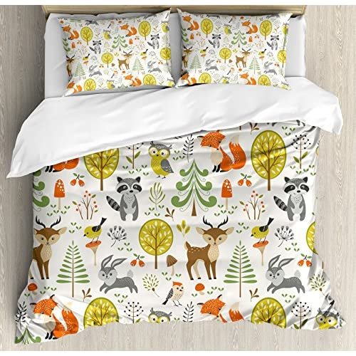 New Kids Queen Size Duvet Cover Set by Ambesonne, Woodland Forest Animals Trees Birds Owls Fox Bunny Deer Raccoon Mushroom Home and, Decorative 3 Piece Bedding Set with 2 Pillow Shams for cheap