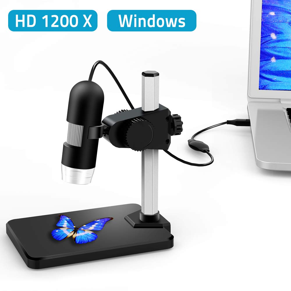 USB Digital Microscope, DEPSTECH 1 to 1200X Magnification Endoscope, 5X Zoom Mini Inspection Camera with 8 Adjustable LED Lights, Working with Win7/8/10 & Linux PC