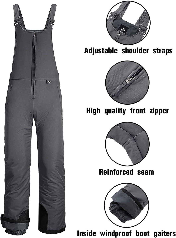 GEMYSE Womens Insulated Waterproof Ski Snow Bib Overalls Windproof Winter Pants