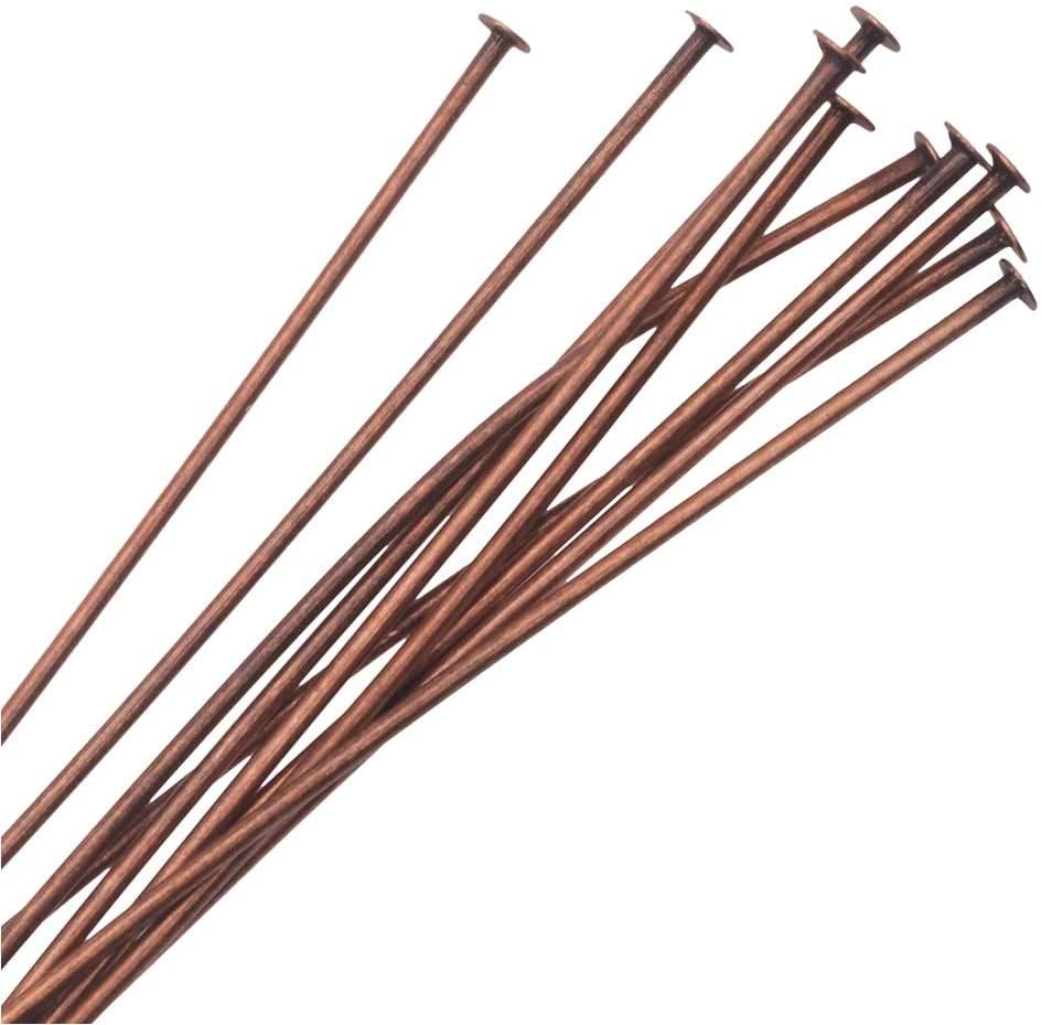 Antiqued Copper Nunn Design Head Pin 2 Inches Long and 20 Gauge Thick 10 Pieces