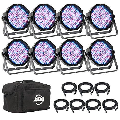 American DJ Mega Flat Pak8 PLUS | New LED par package which features 8 x Mega Par Profile, 7 x dmx connector cable, 1 x soft pack carrying case to protect par system by American DJ