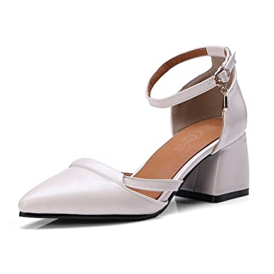 3f5fe38d5bb OALEEN Escarpins Mary Janes Femme Eté Style Cuir Talon Moyen Bloc Bride  Cheville Chaussures Soirée Beige