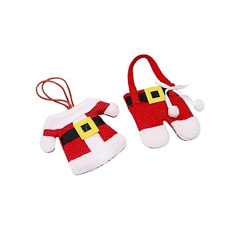 Adornos Navideños Decoracion Navidad Tinksky 6 Unidades Traje de Santa Claus Papa Noel Porta Cubiertos Navidad