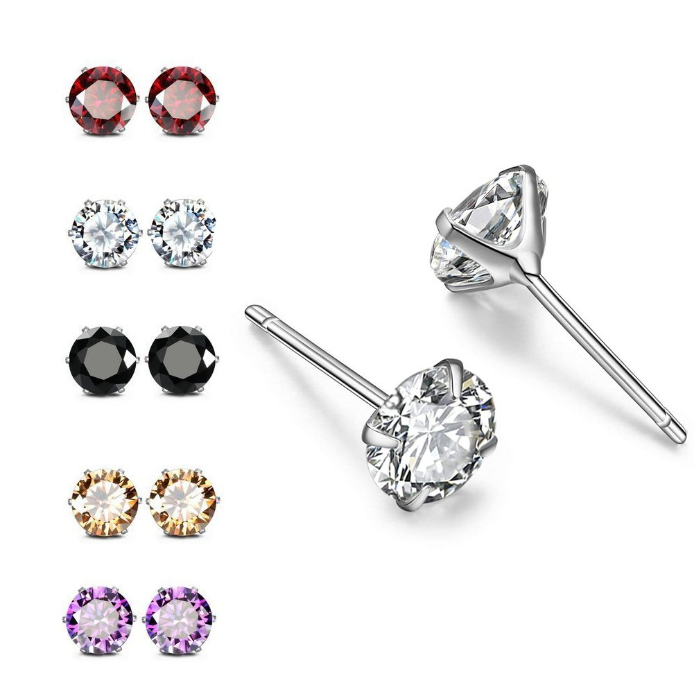 RLD Jewelry 18K Gold Plated S925 Silver Brilliant Cut Simulated Diamond CZ Stud Earrings Back to School (5 Pairs in 6mm) by RLD Jewelry (Image #3)