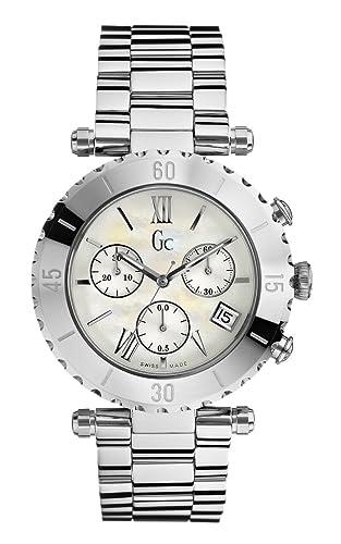 Guess Collection GC Diver Chic Chrono 29002L1 - Reloj analógico de mujer de cuarzo con correa de acero inoxidable plateada: Amazon.es: Relojes