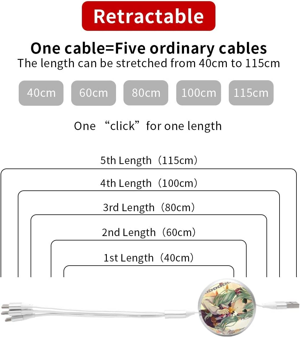 Date A Live USB Round Three-in-One Material Data ABS Cables Multi USB Charger CableRetractable Multiple Fasts Chargings Data line Protective Case
