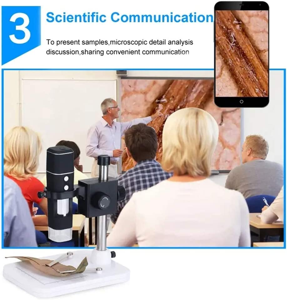 Color : Black, Size : One Size Ybriefbag Digital Microscope Portable WiFi 500X Video Microscope Digital USB Microscope Magnifier 8LEDs for Andorind//iOS