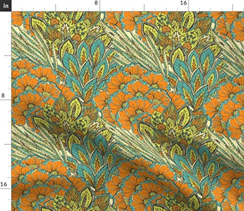- Feather + Floral Fabric - Oriental Ornament. + Orange and Flower Home Deco Turquoise Carpet Peacock Print on Fabric by The Yard - Petal Signature Cotton for Sewing Quilting Apparel Crafts Decor