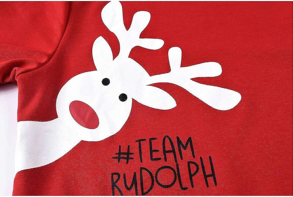 Wetry Felpe Natale Famiglia Pullover Renna Maniche Lunghe Invernali Maglione Natalizio Rosso per Uomo Donna Ragazza Bambini