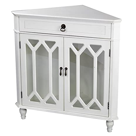 Heather Ann Creations Modern 2 Door Corner Cabinet With Drawer With  Cathedral Glass Insert Antique White - Amazon.com: Heather Ann Creations Modern 2 Door Corner Cabinet