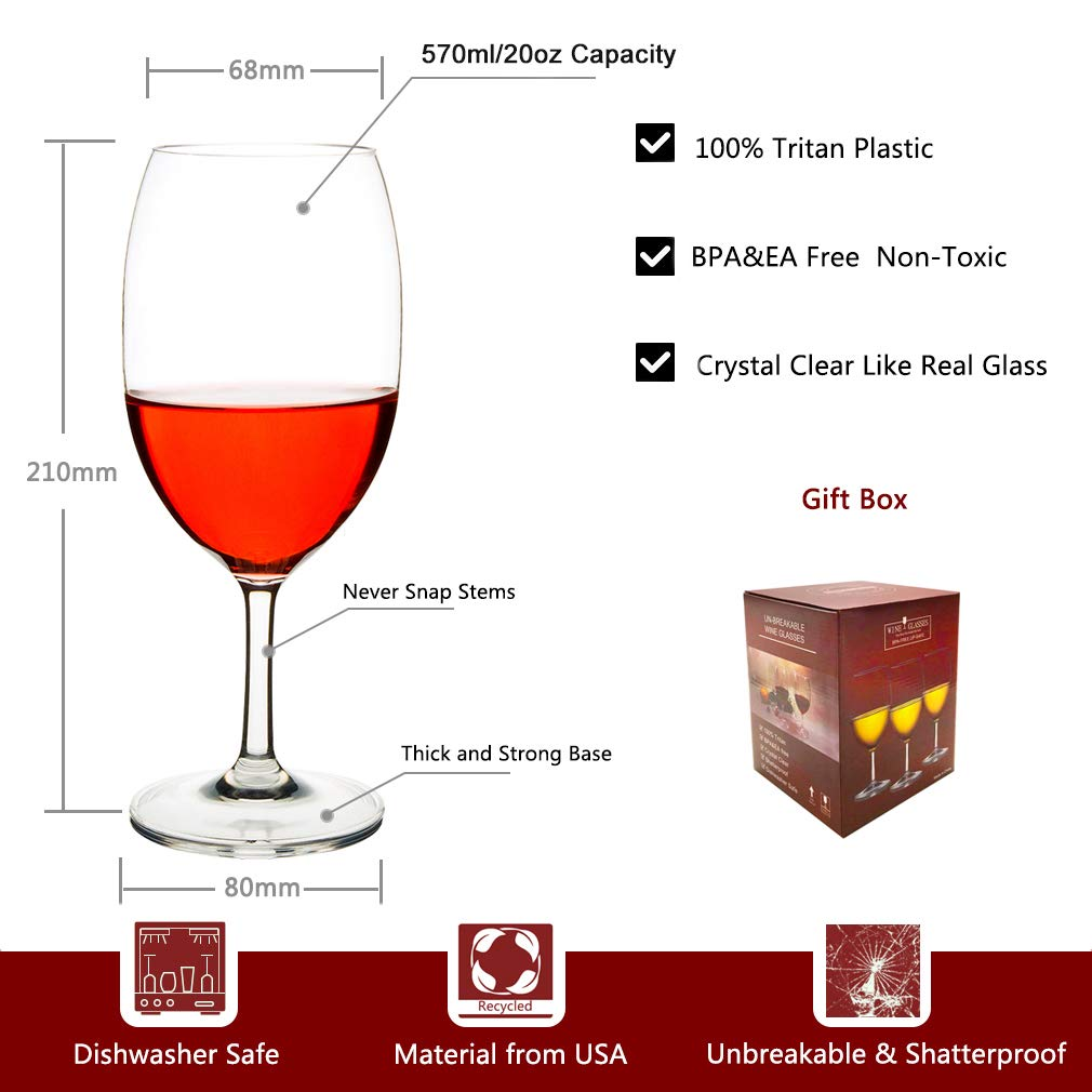 MICHLEY Unbreakable Wine Glasses, 100% Tritan Plastic Shatterproof Wine Glasses, BPA-free, Dishwasher-safe 20 oz, Set of 4 by MICHLEY (Image #3)