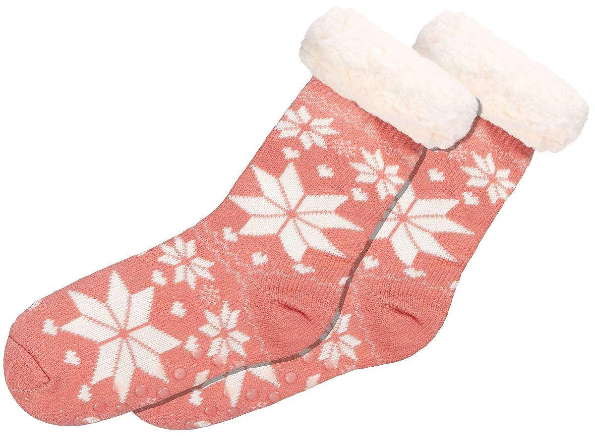 Alsino Norweger Hüttensocken Wintersocken Schneeflocke - Größe 39-42 mit Teddyfell Innenfutter und ABS Sohle für Damen
