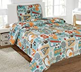 Twin Champ Printed Quilt Bedding Bedspread Coverlet Pillow Case 2Pc