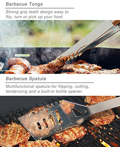POLIGO 22PCS Camping BBQ Grill Accessories Kit Stainless Steel BBQ Tools Grilling Tools Set in Aluminum Case for Father…